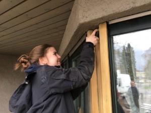 Fenster werden abgeschliffen